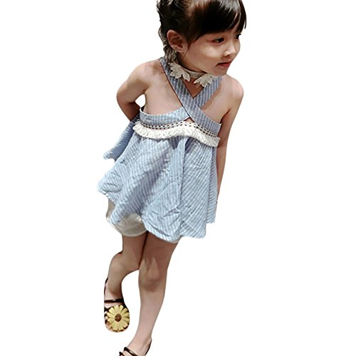 ❤️LILICAT Enfants Infantile Enfant Filles Broderie Rayé Strap Backless Tassel Robe Vêtements 12M-5T (Light Blue, 24M)