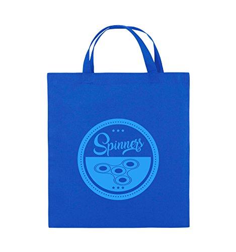 Comedy Bags - Spinners - MOTIV KREIS - Jutebeutel - kurze Henkel - 38x42cm - Farbe: Schwarz / Pink Royalblau / Blau