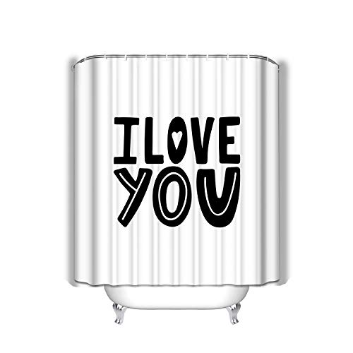 btyi7yos Beach Shower Curtain i Love You Unique Hand Drawn Inspirational Quote Colorful Lettering Print Banners modern Doodle Happy Valentines Day Fabric Bathroom Decor 60 X 72 Inch (Nautische Valentine Karten)