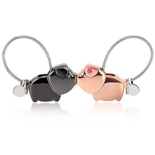 Portachiavi lui e lei amore vodabang carino 1 paio portachiavi coppia casa nuova uomo donna personalizzato amicizia cuore (lovely pigs)