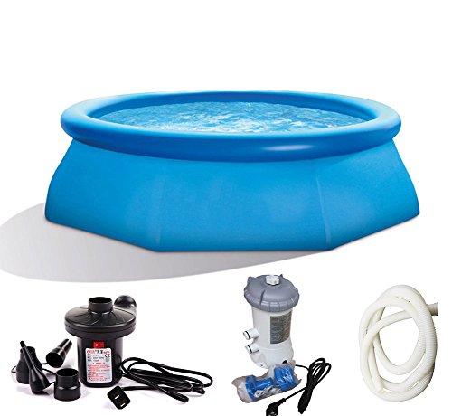 DMGF Aufblasbares Pool-Familie-Planschbecken-Set mit Elektrischer Luftpumpen-Pool-Abdeckungs-Tuch-Filter-Pumpe Verdicken Badekurort Für Erwachsene Kind-Kinder 2420Liter Blau