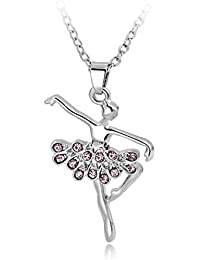 Long Way Necklace,Silver Plated Pink Dancing Ballerina Dancer Ballet Dance Pendant Necklace Charm Necklace