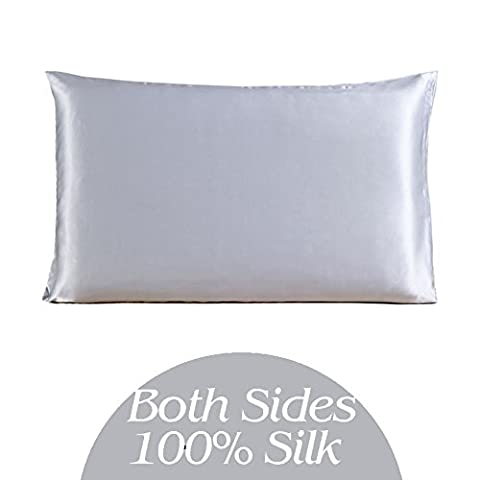 Q.KIM 100% Real Silk Pillowcase 19 Momme Charmeuse Double-side Pure Natural Mulberry Silk Fabric with Hidden Zipper Standard 20