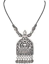 Hilore Gypsy Boho Silver Statement Necklace Hippie Art Deco Necklace For An Artistic Spirited Looks For Girls...