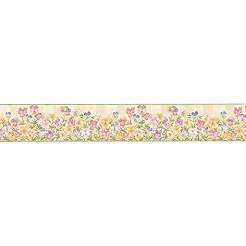 Brewster Parkview Designs 260B03820 Small Florals and Miniatures Pansies Wall Border, 4.125-Inch by 180-Inch