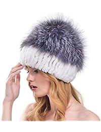 VEMOLLA Cappello Invernale Spesso per Donne Lavorato a Maglia in Pelliccia  di Coniglio con Pelliccia di 7b4189fa65cf