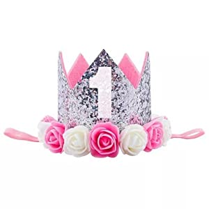Ziory 1 Pc Silver Color Rose Flower Kids Baby 1st Birthday Hat Glitter Crown Flower Head Hair Band Party Headwear for…