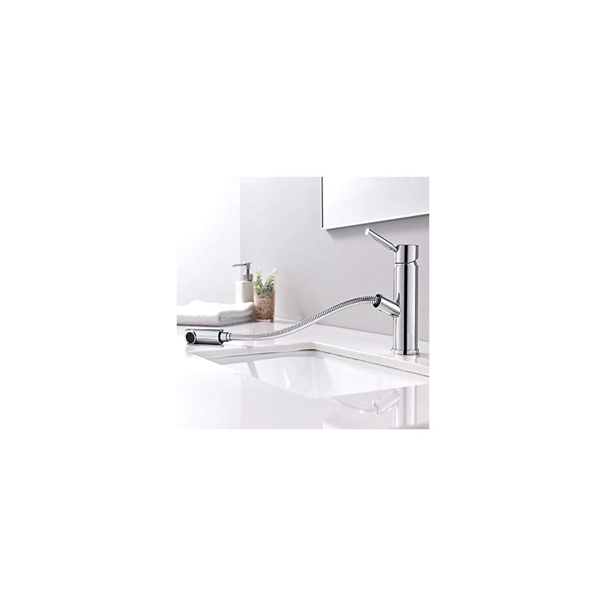 41vLAoGUu5L. SS1200  - HOMFA Grifo Lacabo Extraible con Cabezal de Ducha Agua Suave Monomando de Lavabo de Baño Agua Caliente y Fría con Tubo de Extensión de 1.5m