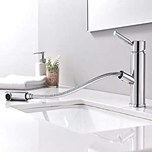 HOMFA Grifo Extraible con Ducha Caliente y Fría para Baño y Cocina Grifería de lavabo Extraible con Tubo de Extensión de…