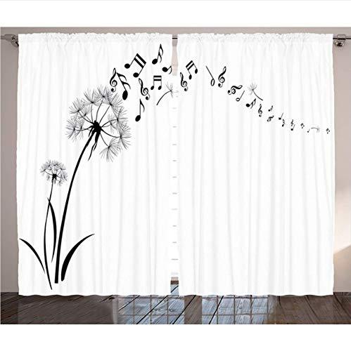 WKJHDFGB Musik Dekor Vorhänge Fliegen Löwenzahn Mit Hinweis Musik Sommer Wiese Silhouette Weichheit Einfache Wohnzimmer Schlafzimmer Dekor,215X200Cm Wiese Musik