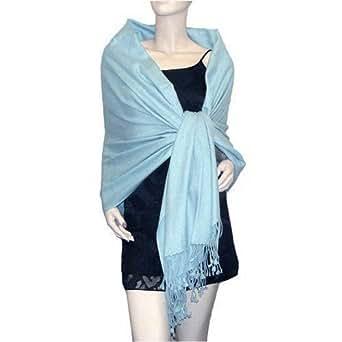 Stunning Plain Pashmina Shawl Scarf Wrap 9 Colours New - Ice Blue