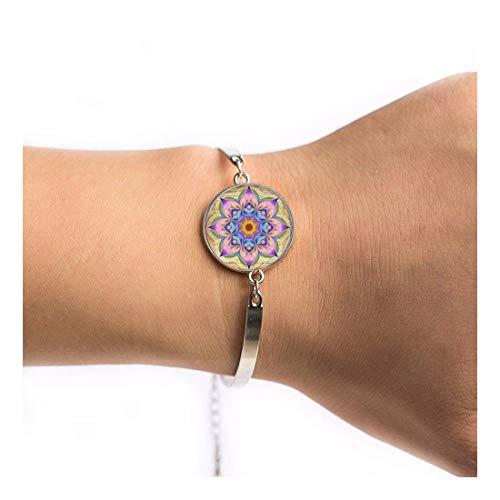 YIYIYYA Unisex Armband Im Indischen Stil Yoga Schmuck Armband Symbol Buddhismus Zen Einzigartige Bunte Mandala Blume Armbänder, 06.
