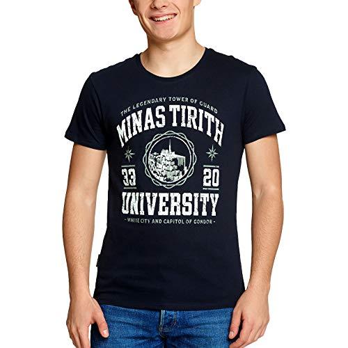 Herr der Ringe Minas Tirith University Herren T-Shirt Fans Elbenwald Baumwolle blau - XL