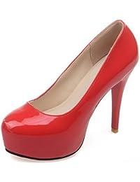AgooLar Damen Hoher Absatz Eingelegt Ziehen auf Lackleder Spitz Zehe Pumps Schuhe, Rot, 43