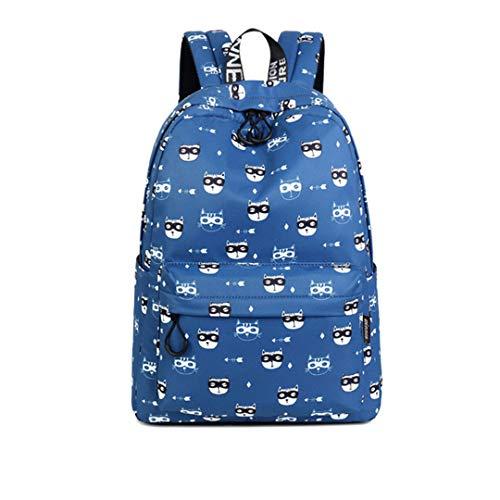 Nette Frauen-Rucksack-Glas-Katzen-Muster-Druck-Mädchen College Latop Bookbags Blue 14 inches