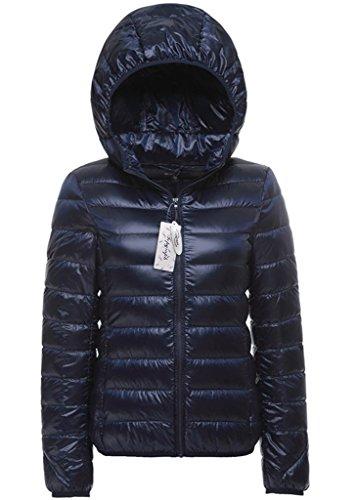 Topgraph Damen Daunenjacken Leicht Navy Blau Jacke Lightdaune Mit Kapuze Ultra Lightweight Jacket