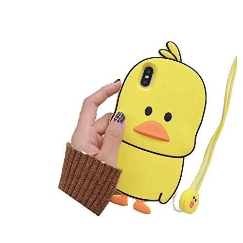 SevenPanda iPhone X Hülle, 3D Netter Karikatur Gelber Ente Weicher Silikon Schützender Hülle für iPhone 10 / iPhone XS (5.8 Zoll) für Kindermädchen Teenager Damen - Gelb