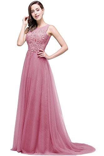 Altrosa Damen A-Linie langes Prinzessin Tuell Abendkleid Ballkleid brautjungfer Cocktail Party kleid 42