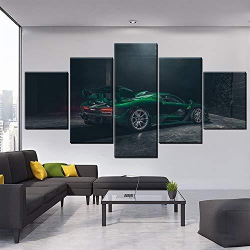 Cartel de Arte de Pared Decorativo de 5 PanelesCoche Verde Esmeralda Sala...