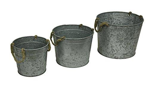 Set di 3fioriere laureato dimensione rotonda in metallo zincata con manici in corda di iuta