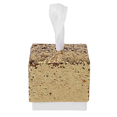 Ogquaton 10 Stücke Glitter Süßigkeitskästen Hochzeit Gunsten Party Geschenkbox für Brautdusche Baby Geburtstag Süße Boxen Gold Langlebig und Nützlich (Hochzeit Gunsten Box-gold)