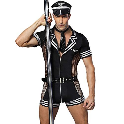 Sexy Kostüm Herren Cop - Herren Sexy Polizist Uniform Cosplay Kostüm, Halloween Cop Uniform Outfit mit Gürtel und Mesh, Maskerade