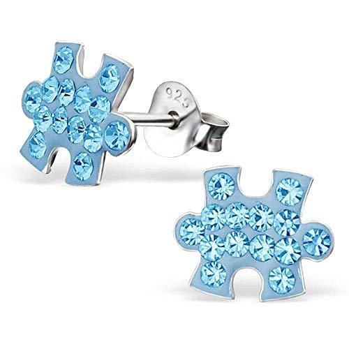 So Chic Joyas© pendientes niño pieza Puzzle pedrería cristal azul plata 925