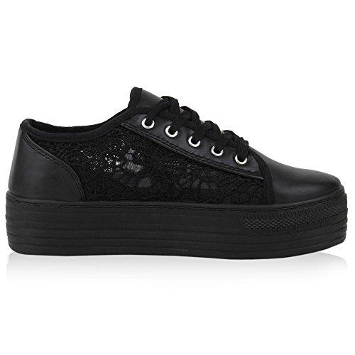 Damen Plateau Sneakers 90s Style Sportschuhe Freizeit Schuhe Jennika Schwarz Plateau