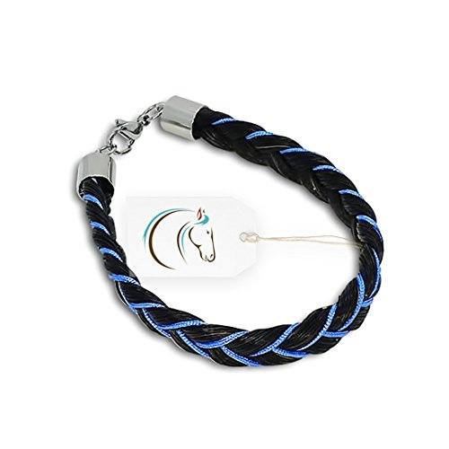 Crin de Cheval - Bracelet Cheval pour Fille - Collection Apache - 18/19 cm - Noir avec Ruban Bleu