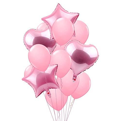 RZRCJ Luftballons (Spielzeug) 14 Stücke Rosa Blau Stern Herz Ballon Farbige Champagner Geschlecht Offenbaren Baby Kinder Happy Birthday Party Ballons Hochzeit Decor, Rosa