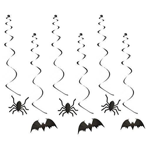 Oblique-Unique® Halloween Spinnen & Fledermaus Deckenhänger Girlande - 6 Stück - Spiral Girlanden in - In 2 Min Halloween