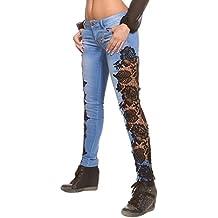 Mena UK Mujeres Sexy Talle bajo Arrancado Cortar el cordón de los pantalones vaqueros Floral Novio Tube Pencil Jeans ( Color : Negro , Tamaño : M )