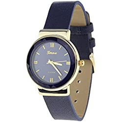 Geneva Japanese Movement Stainless Steel Back Casual Navy Faux Leather Strap Watch