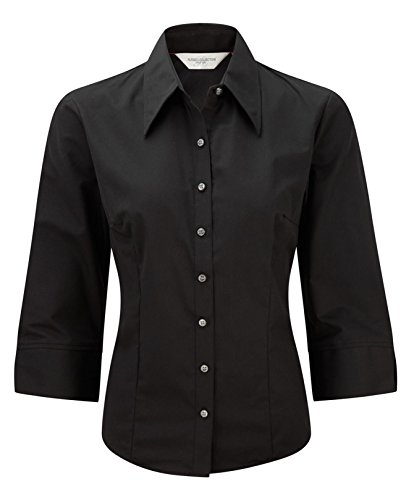 Russell Collection Women's Tencel Fitted 3/4 Sleeve Shirt Noir
