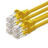 1Attack. de Cat 5e Patch Cable Cable de Red U/UTP Compatible con Cat.5E Cat.5Cat.6para Router módem Patch Pannel Internet Smart TV Xbox Amarillo - 5 Unidades 5 m