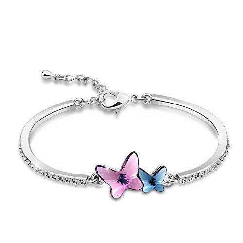 """T400 Jewelers Damen Armband Silber """"Butterfly Lovers"""" mit echten SWAROVSKI Kristall Schmetterlingen"""