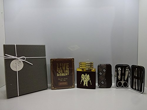 Valentines Gift For Him ~ Luxury Gift Box For Men Live For The Moment edt For Men 100ml Amazscent Sensational Fragrance For Him + 7cs Stainless Steel Nail Care Personal Manicure Kit In Gift Box.043.