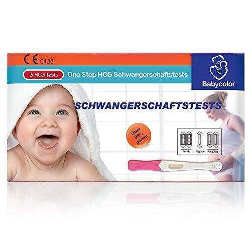 Babycolor 3 Pruebas de embarazo PT200 Alta Fiabilidad Test de Embarazo Resultados en Menos de 3 Minutos