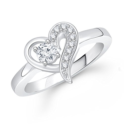 Meenaz Heart Ring Solitaire Ring For Valentine Love Silver Ring For Girls & Women In American Diamond Cz Fr293
