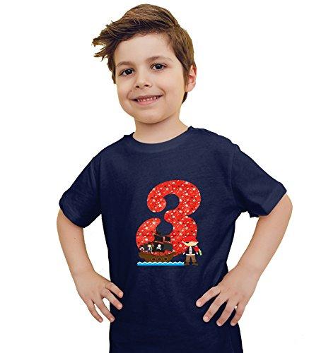 Preisvergleich Produktbild wolga-kreativ T-Shirt Pirat 3 Geburtstag Geburtstagsshirt (96-104 cm) dunkelblau
