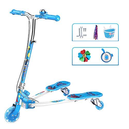 BAAYD Kinder Roller Blau Rosa 3-6-12 Jahre alt Junge Mädchen Geburtstagsgeschenk Flash LED Räder Füße Spielzeugauto Höhenverstellbar Faltbare Handbremspedal Roller-Blue (Sechs Jahre Für Geburtstagsgeschenk)