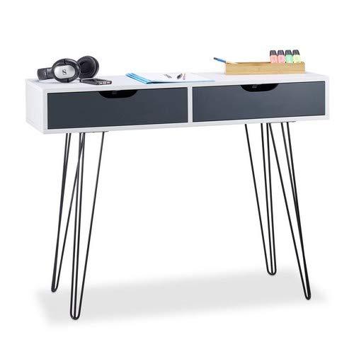 Relaxdays Schreibtisch weiß, mit Schubladen, modernes Design, Jugendschreibtisch, HxBxT: 76 x 100 x 40 cm, white