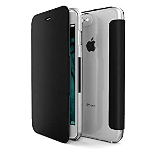 X-Doria Wallet Case for iPhone 7 Plus (Engage Folio) with Clear Polycarbonate Back - Protective iPhone 7 Plus Wallet Case, Black