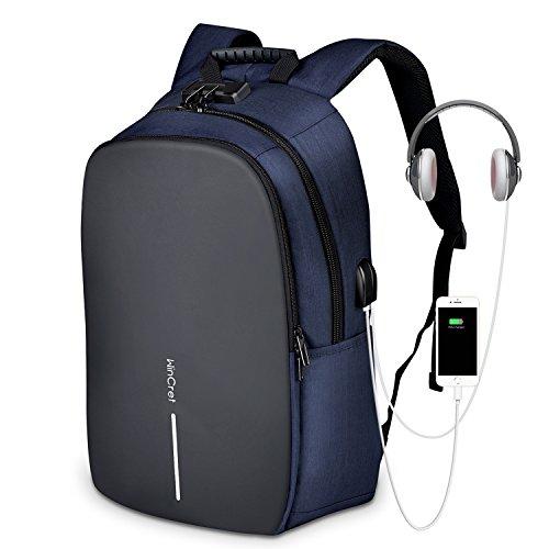 WinCret Anti-Diebstahl Laptop Rucksack passt 17.3 Zoll Laptop mit Schloss/USB Anschluss/Headphone Port Wasserdicht Business Laptop Rucksack mit Regenschutz für Herren und Damen