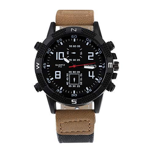 Souarts Herren Armbanduhr Männer Einfach Stil Sport Analoge Quarzuhr PU Leder Armband Uhren