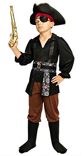 Magicoo Piratenjunge Piratenkostüm Kinder Jungen inkl. Piratenhut & Augenklappe Größen 110-140 - Faschingskostüm Pirat Kind (122/128)