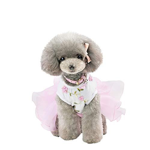 Quaan Haustier Hund Bottoming Rüschen Blumen Print Kleid Kleidung Katze Breathable Dress (Macht Hufe Kostüm)