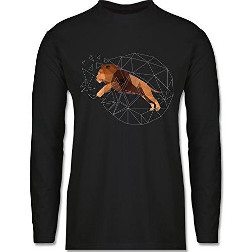 Sonstige Tiere - Freiheit Löwe - Longsleeve / langärmeliges T-Shirt für Herren Schwarz