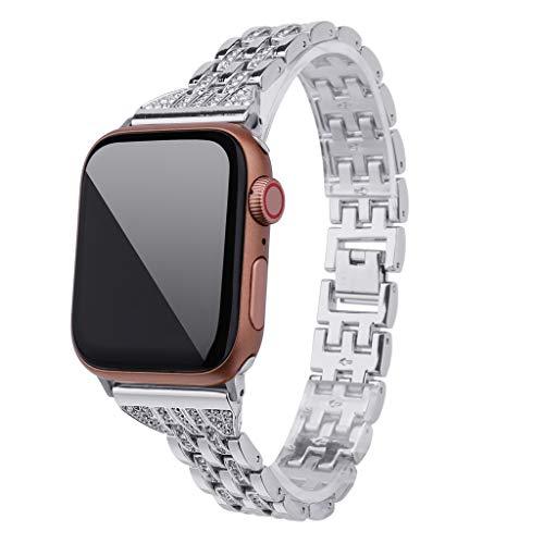 Upxiang für Apple Watch Series 4/3/2/1 38mm/40mm Armaband Metall Wrist Band Strap Ersetze Strass Diamant Uhrenarmband Sport Armbänder