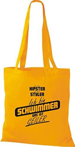 Shirtstown Stoffbeutel du bist hipster du bist styler ich bin Schwimmer das ist geiler goldgelb